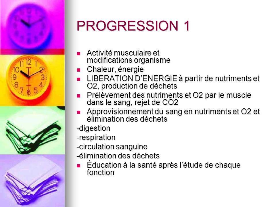 PROGRESSION 1 Activité musculaire et modifications organisme