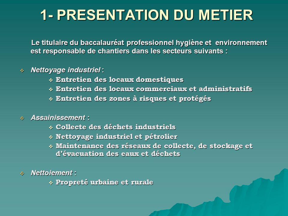 1- PRESENTATION DU METIER