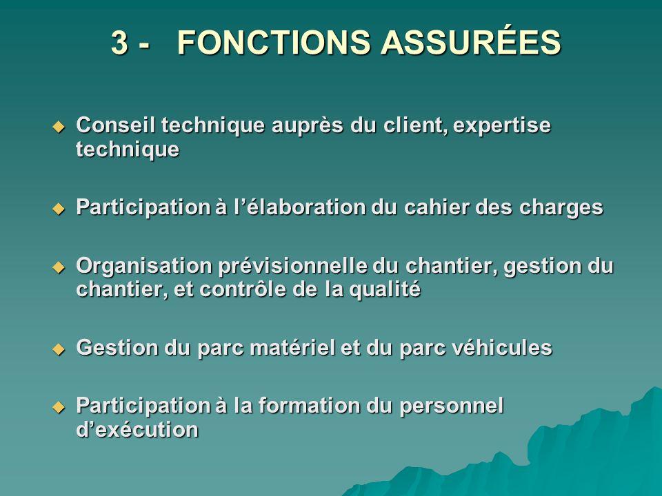 3 - FONCTIONS ASSURÉES Conseil technique auprès du client, expertise technique. Participation à l'élaboration du cahier des charges.