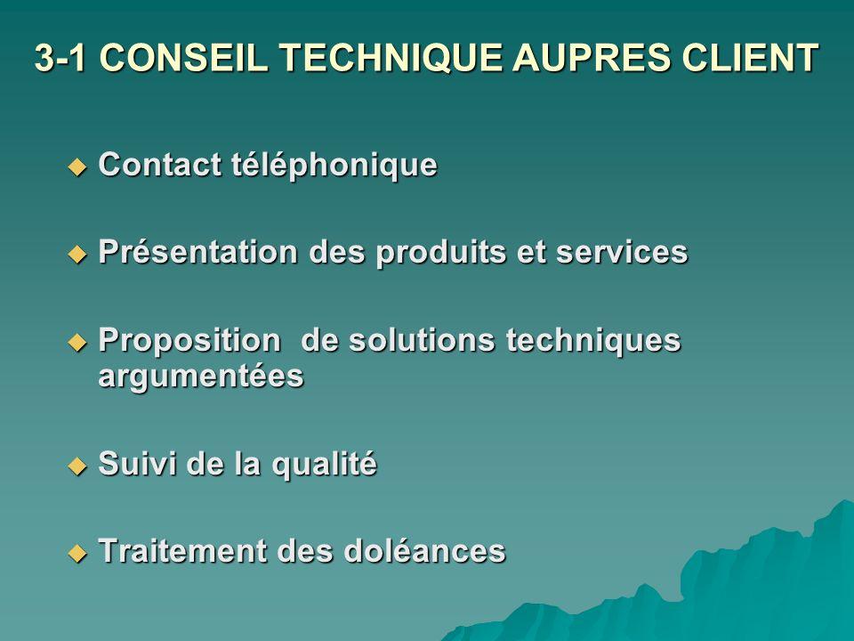 3-1 CONSEIL TECHNIQUE AUPRES CLIENT