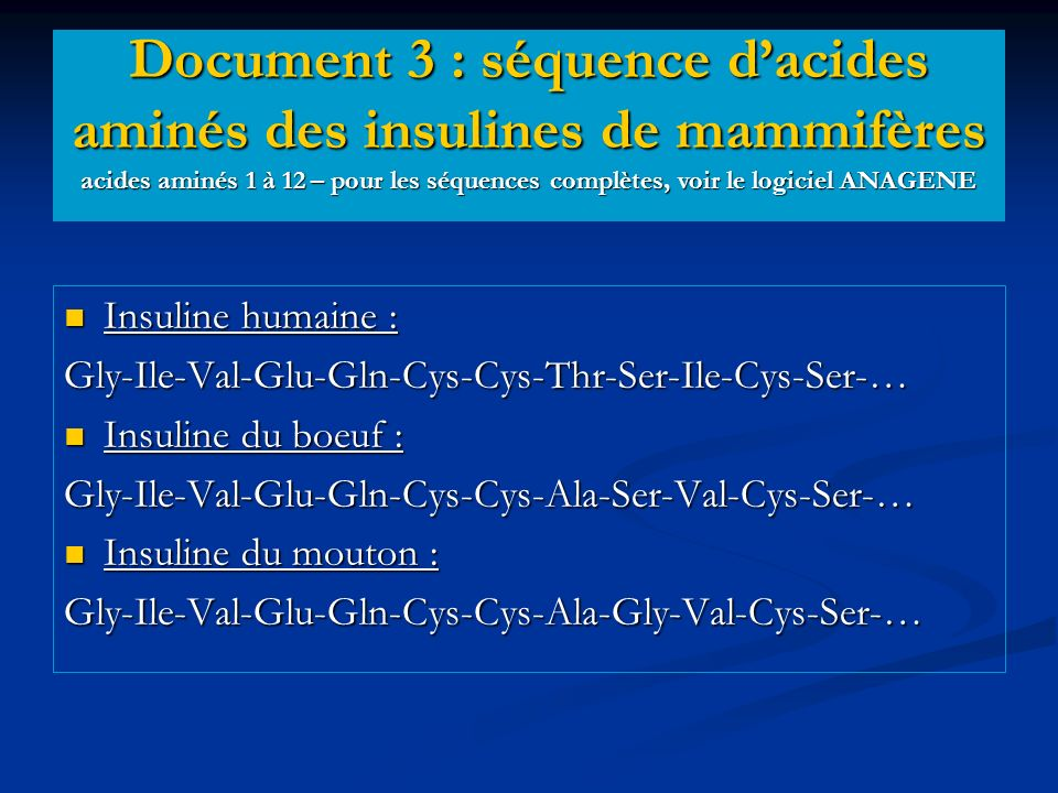 Document 3 : séquence d'acides aminés des insulines de mammifères acides aminés 1 à 12 – pour les séquences complètes, voir le logiciel ANAGENE