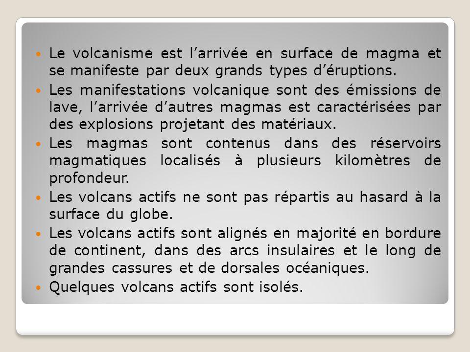 Le volcanisme est l'arrivée en surface de magma et se manifeste par deux grands types d'éruptions.