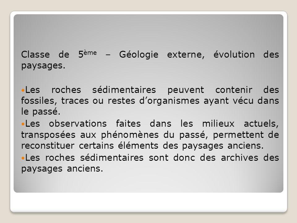 Classe de 5ème – Géologie externe, évolution des paysages.