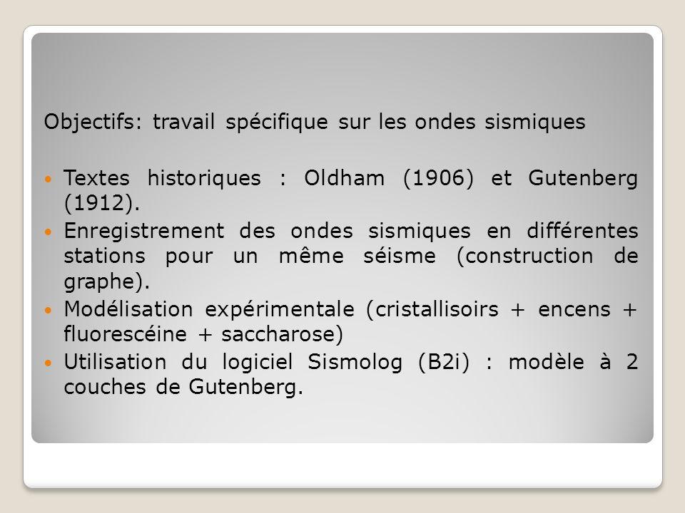 Objectifs: travail spécifique sur les ondes sismiques