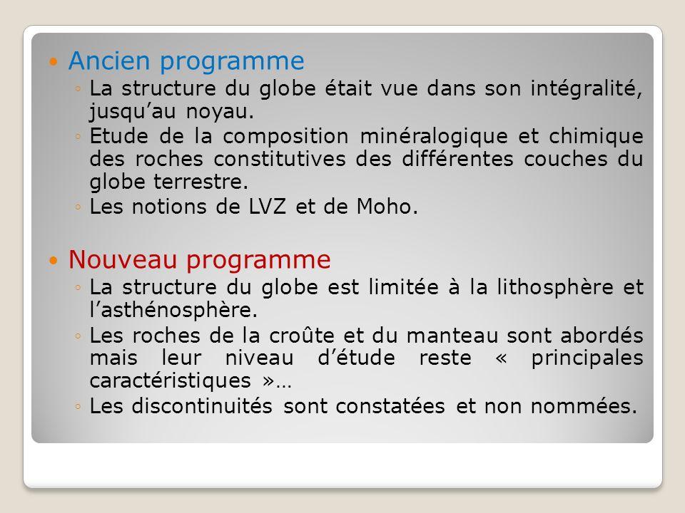 Ancien programme Nouveau programme