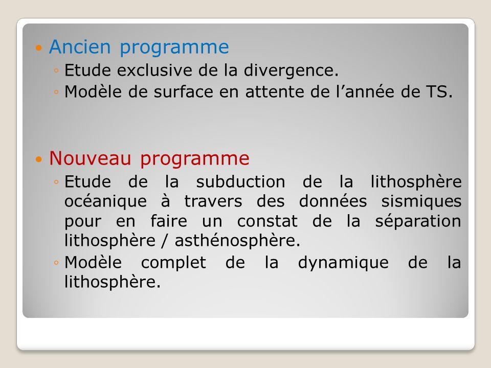 Ancien programme Nouveau programme Etude exclusive de la divergence.