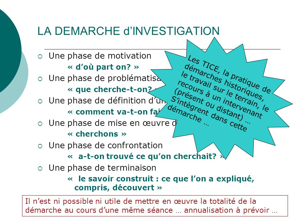 LA DEMARCHE d'INVESTIGATION