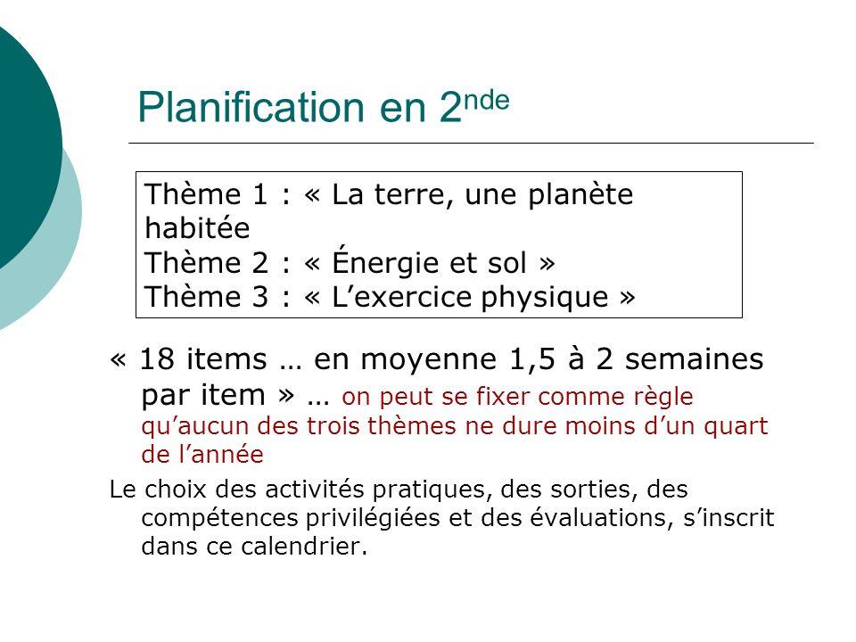 Planification en 2nde Thème 1 : « La terre, une planète habitée. Thème 2 : « Énergie et sol » Thème 3 : « L'exercice physique »