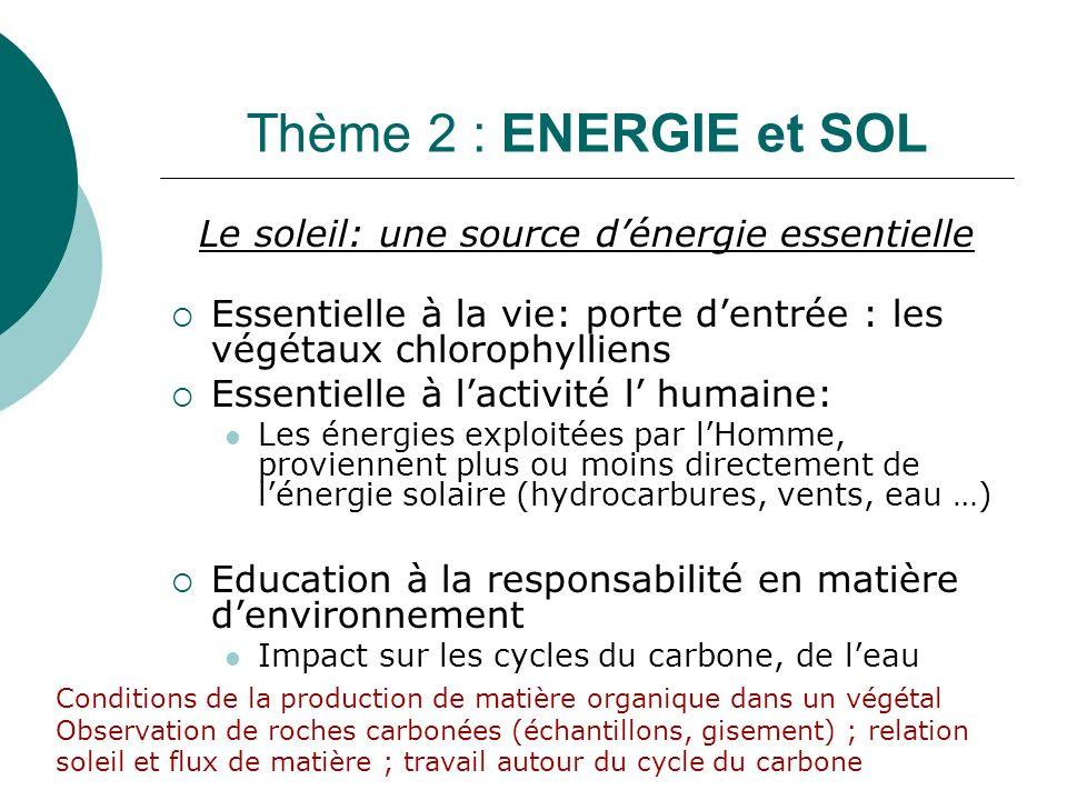 Le soleil: une source d'énergie essentielle