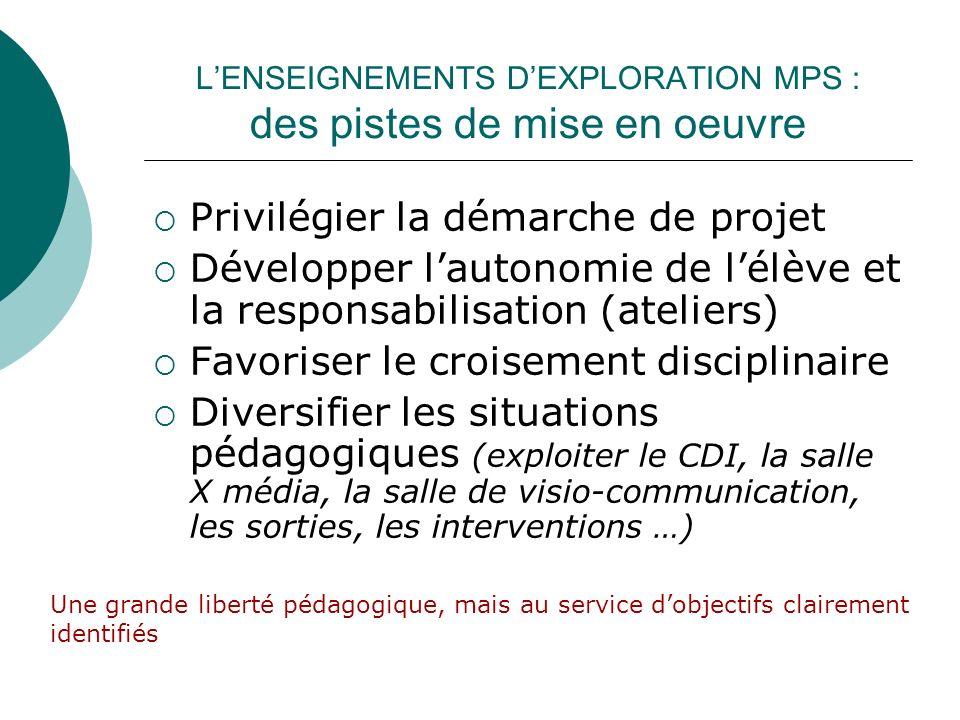 L'ENSEIGNEMENTS D'EXPLORATION MPS : des pistes de mise en oeuvre