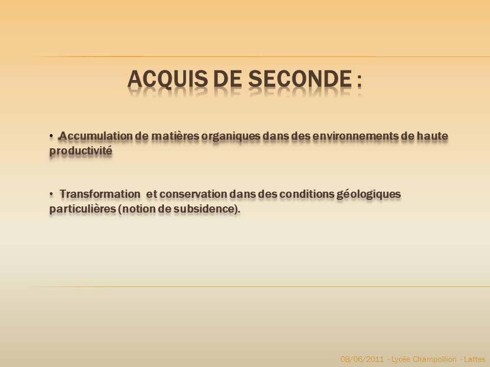 Acquis de seconde : Accumulation de matières organiques dans des environnements de haute productivité.