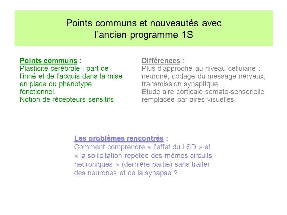 Points communs et nouveautés avec l'ancien programme 1S