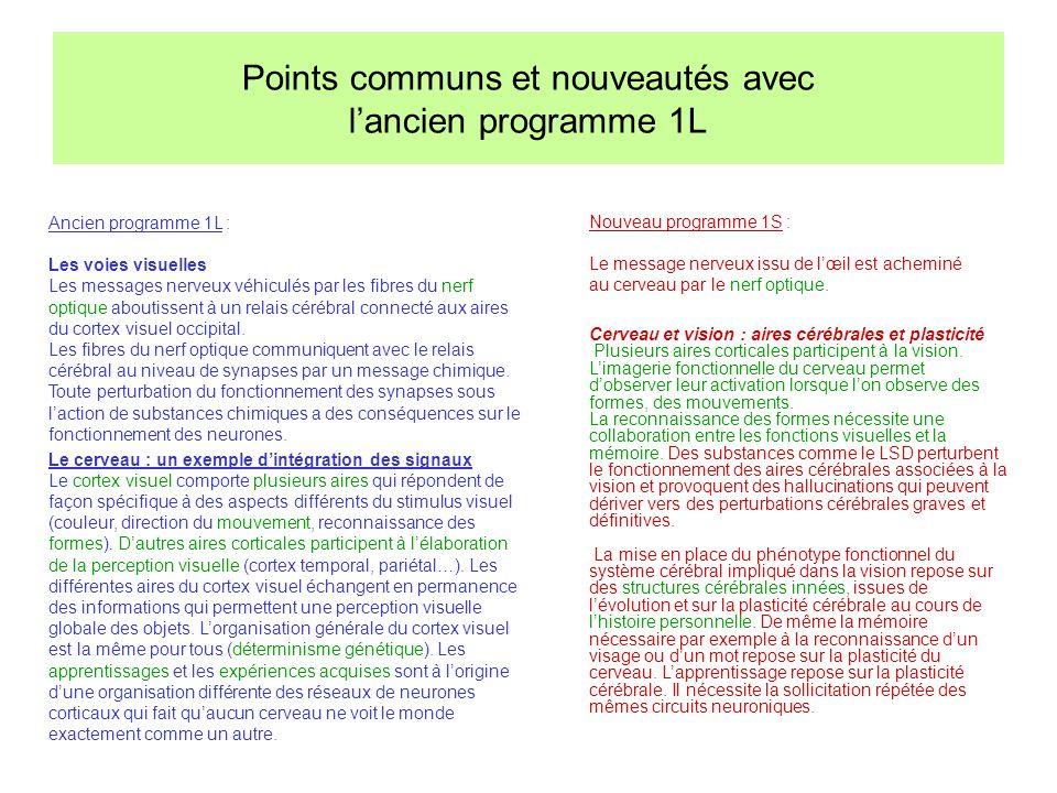 Points communs et nouveautés avec l'ancien programme 1L