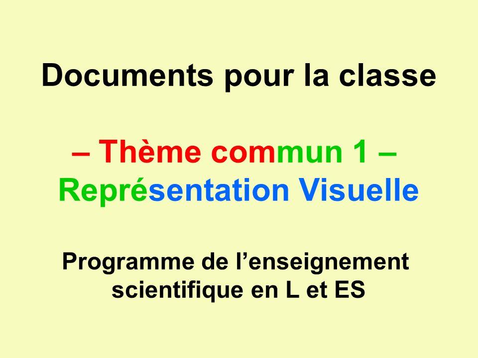 Documents pour la classe – Thème commun 1 – Représentation Visuelle
