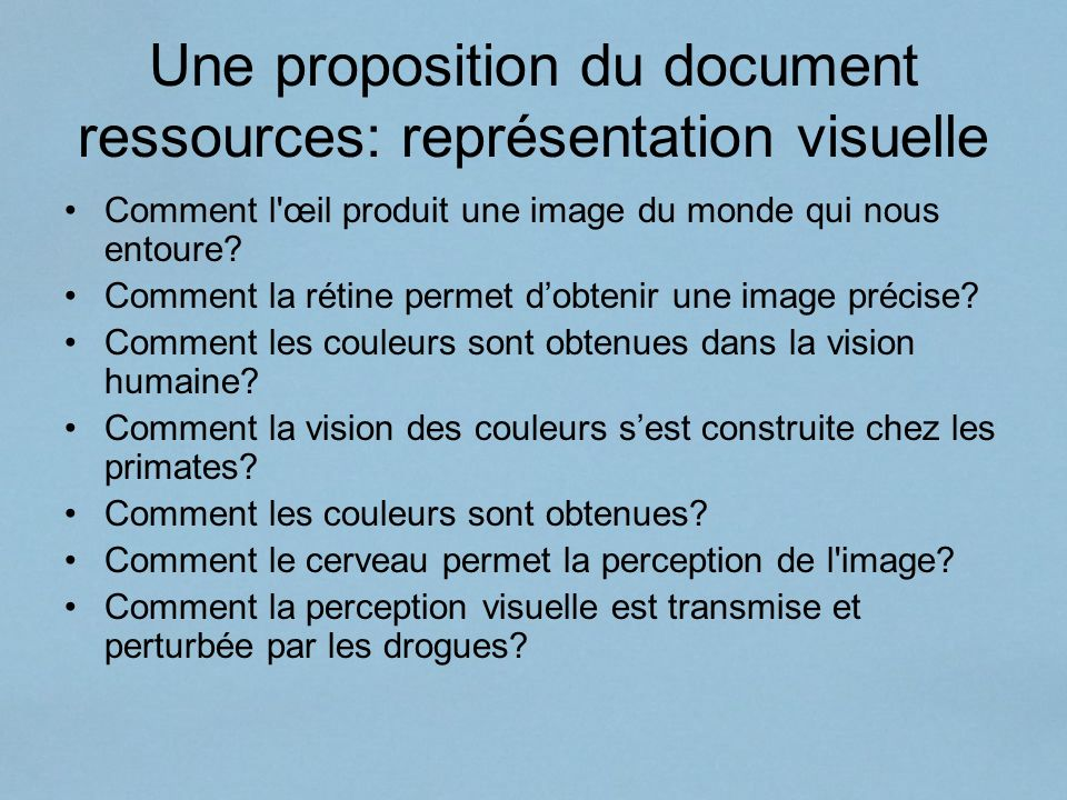 Une proposition du document ressources: représentation visuelle