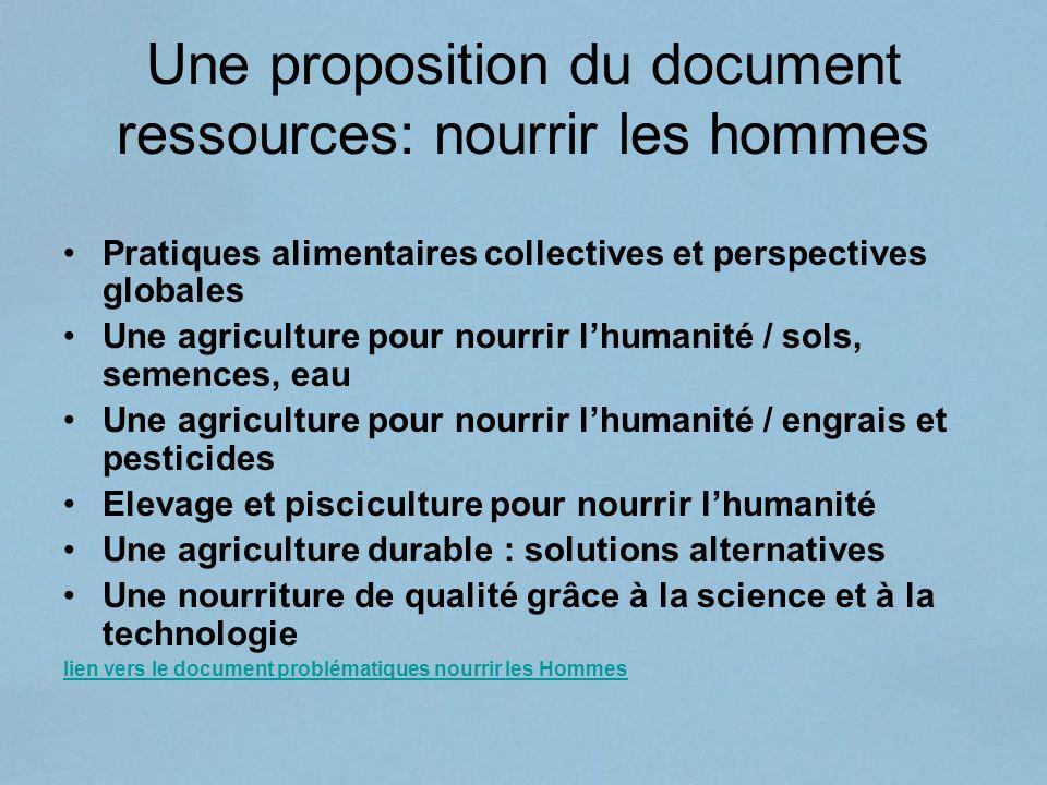 Une proposition du document ressources: nourrir les hommes