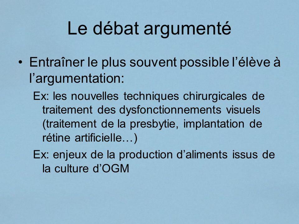 Le débat argumenté Entraîner le plus souvent possible l'élève à l'argumentation: