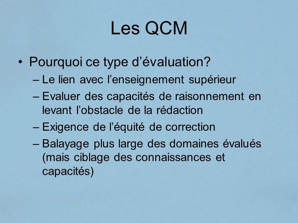 Les QCM Pourquoi ce type d'évaluation