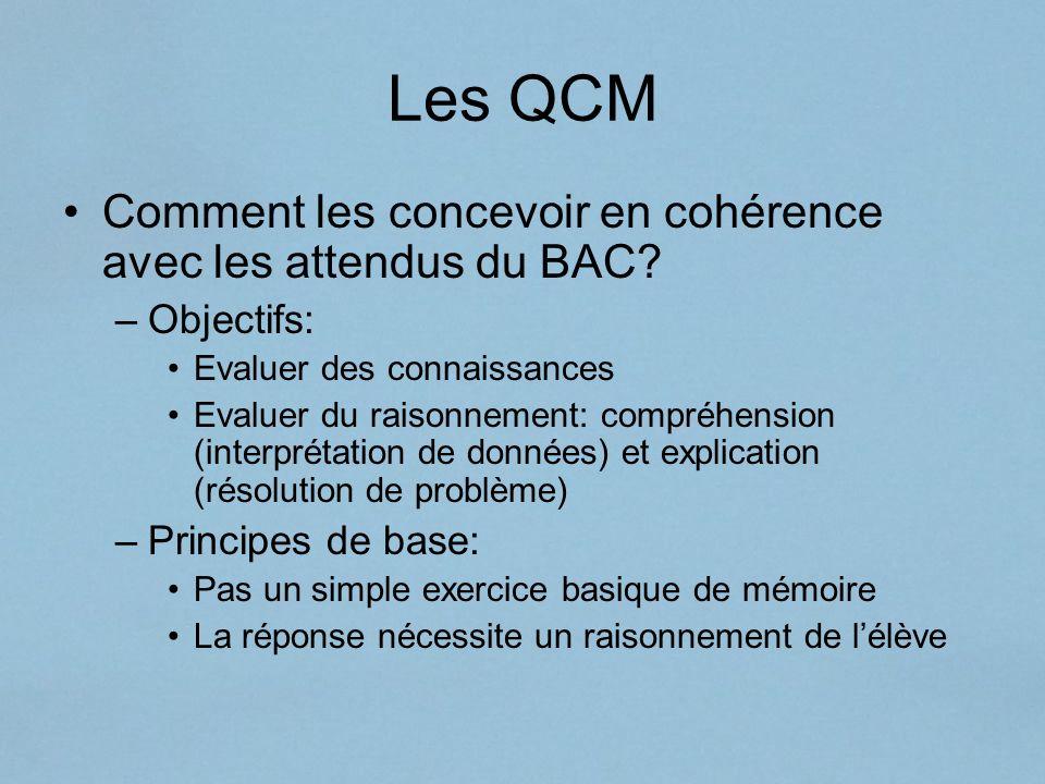 Les QCM Comment les concevoir en cohérence avec les attendus du BAC