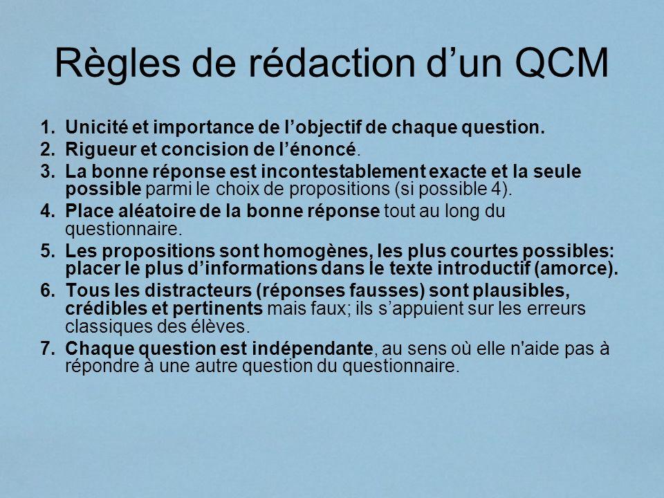 Règles de rédaction d'un QCM