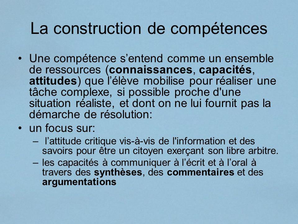 La construction de compétences