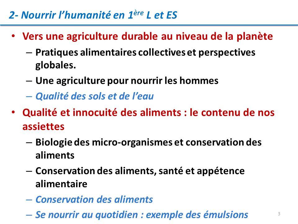 2- Nourrir l'humanité en 1ère L et ES