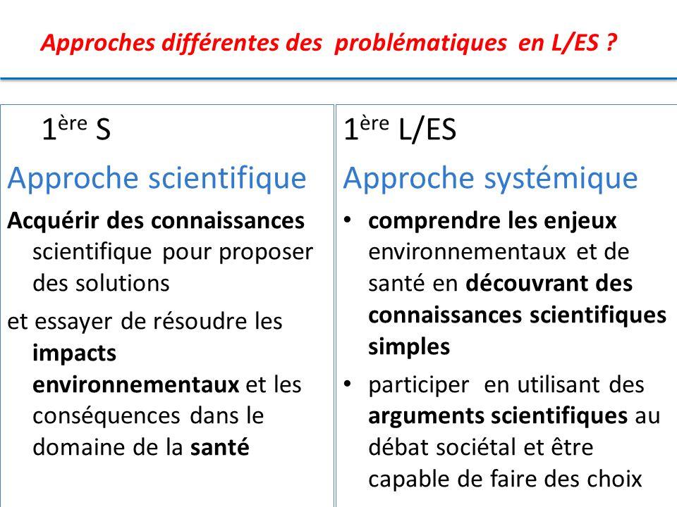 Approches différentes des problématiques en L/ES