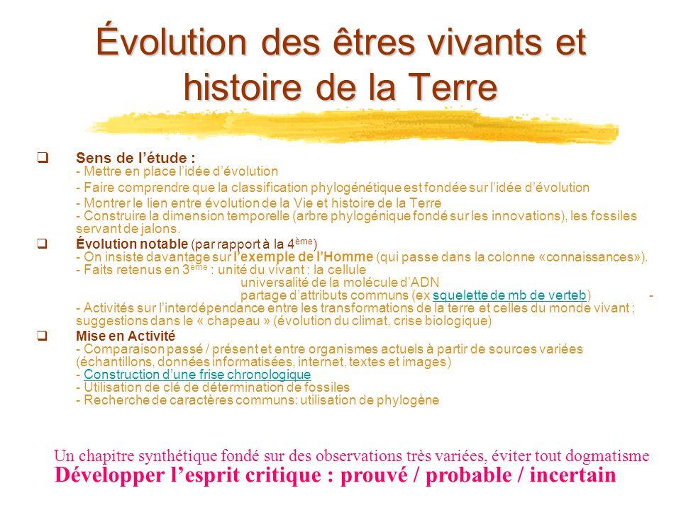 Évolution des êtres vivants et histoire de la Terre