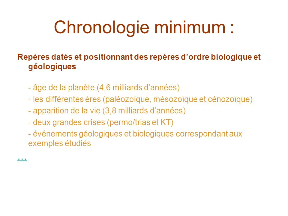 Chronologie minimum : …