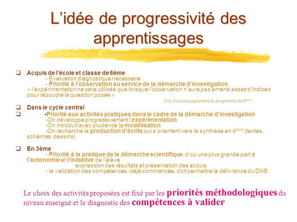 L'idée de progressivité des apprentissages