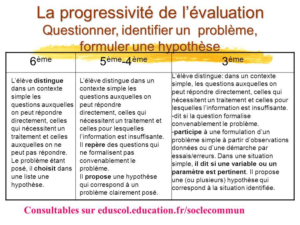 La progressivité de l'évaluation Questionner, identifier un problème, formuler une hypothèse
