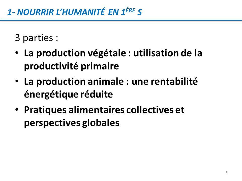 La production végétale : utilisation de la productivité primaire