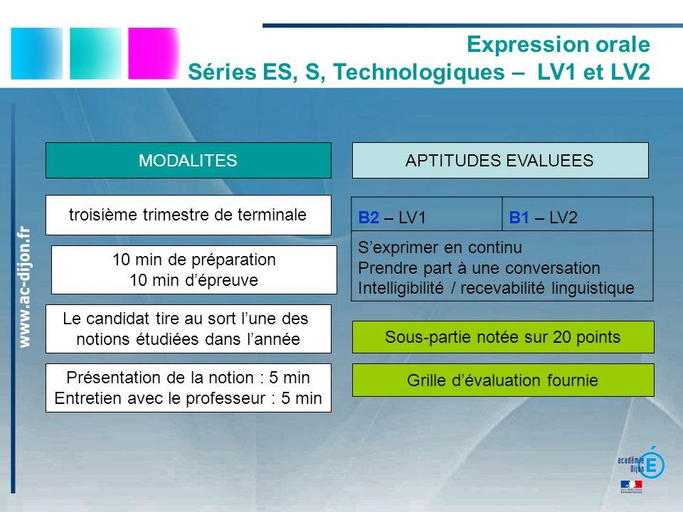 Expression orale Séries ES, S, Technologiques – LV1 et LV2