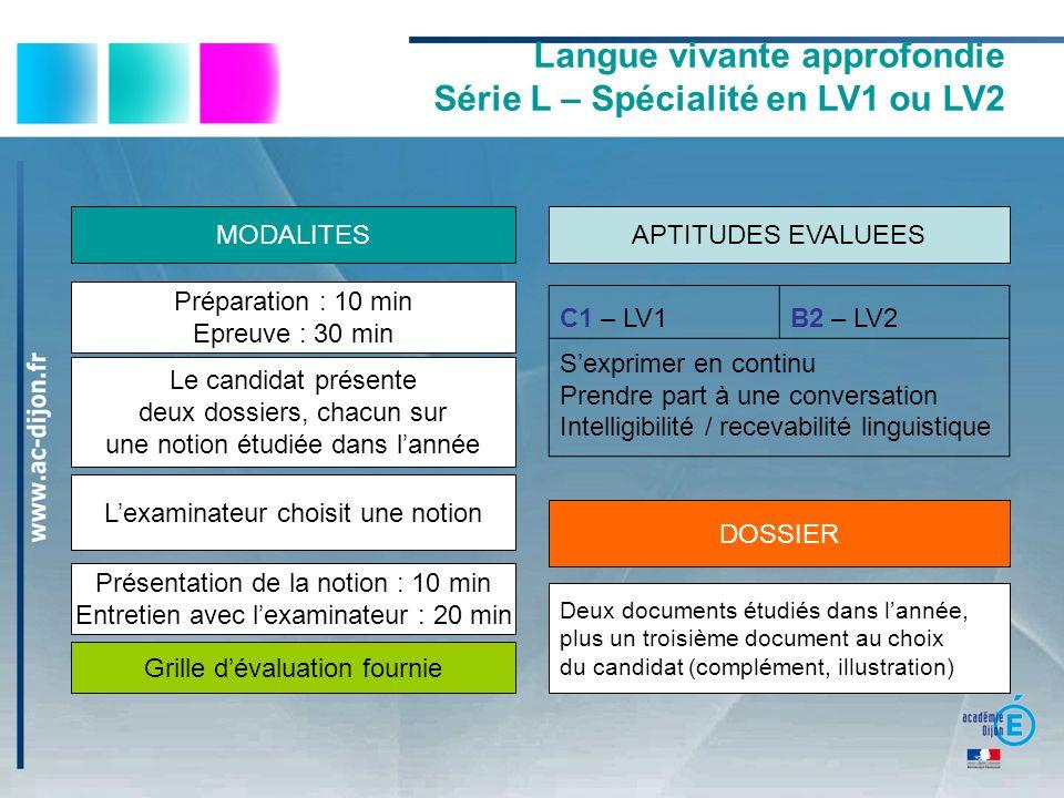 Langue vivante approfondie Série L – Spécialité en LV1 ou LV2