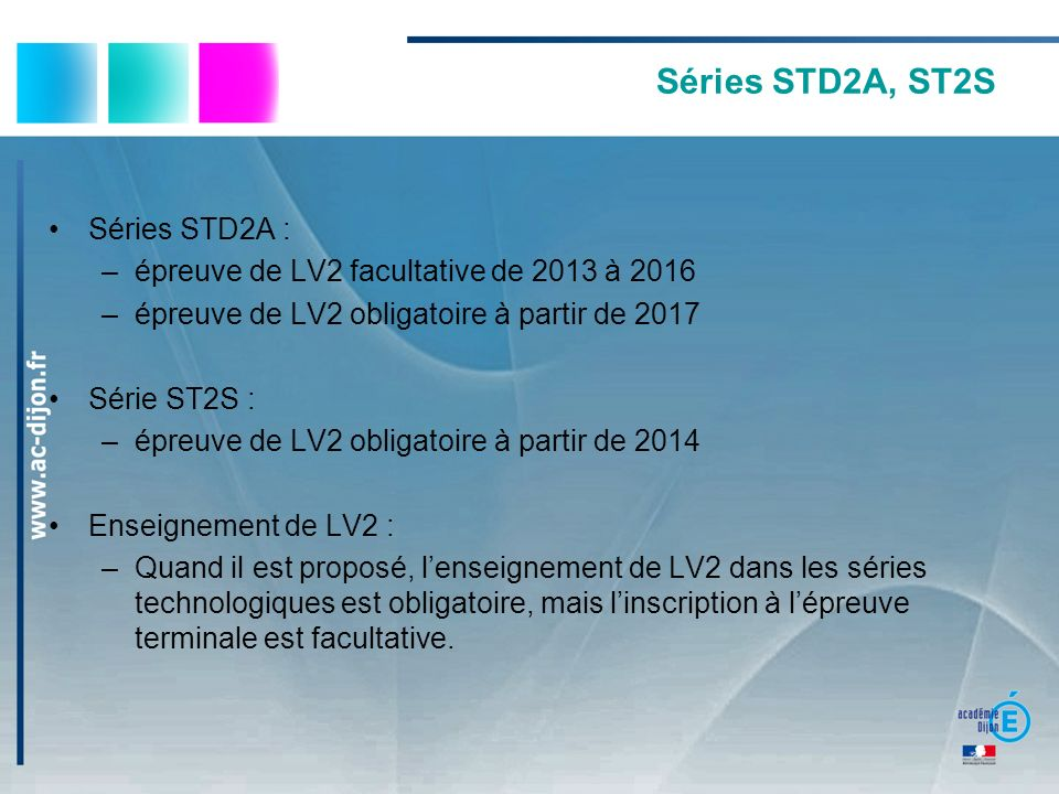 Séries STD2A, ST2S Séries STD2A :