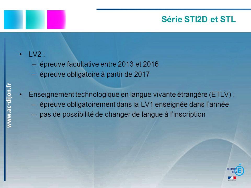 Série STI2D et STL LV2 : épreuve facultative entre 2013 et 2016