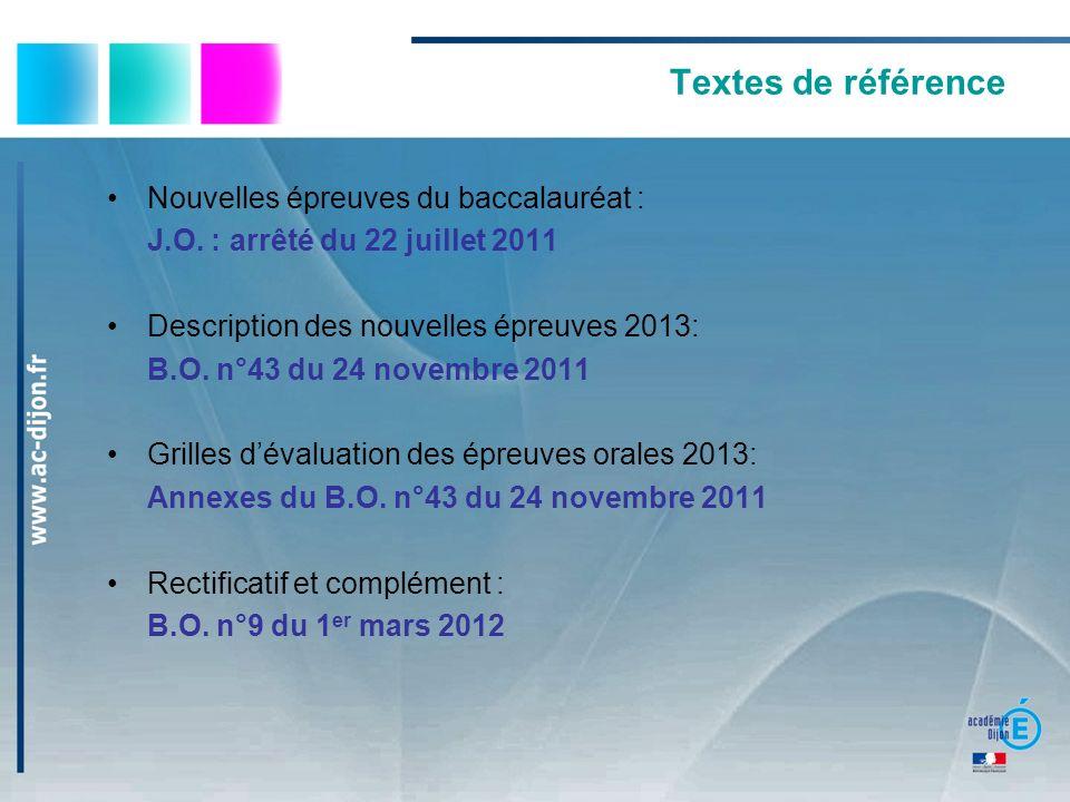 Textes de référence Nouvelles épreuves du baccalauréat :