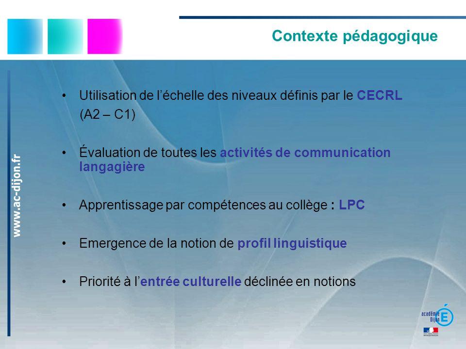 Contexte pédagogique Utilisation de l'échelle des niveaux définis par le CECRL. (A2 – C1)
