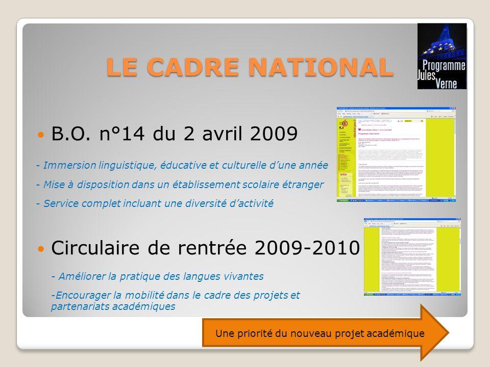 LE CADRE NATIONAL B.O. n°14 du 2 avril 2009