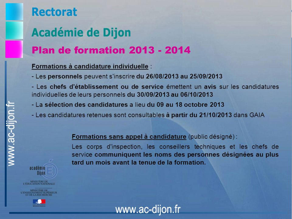 Plan de formation 2013 - 2014 Formations à candidature individuelle :