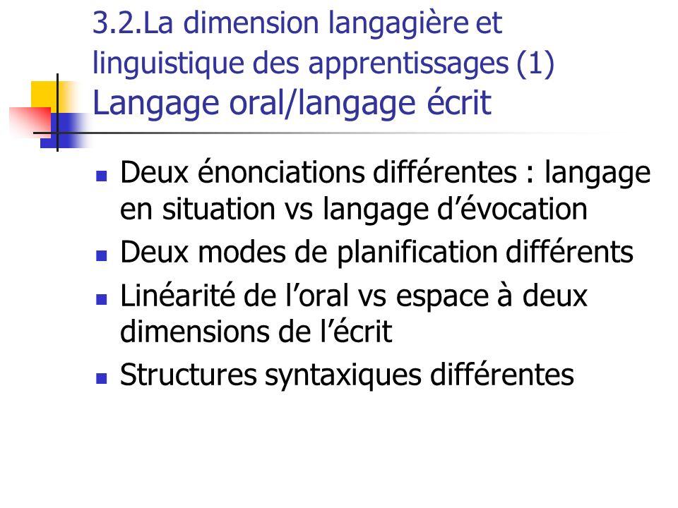 3.2.La dimension langagière et linguistique des apprentissages (1) Langage oral/langage écrit