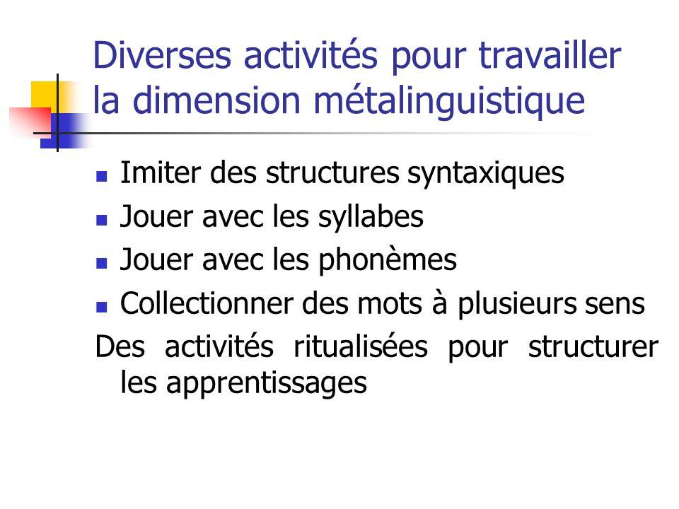 Diverses activités pour travailler la dimension métalinguistique
