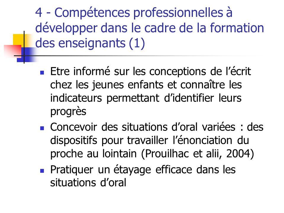 4 - Compétences professionnelles à développer dans le cadre de la formation des enseignants (1)