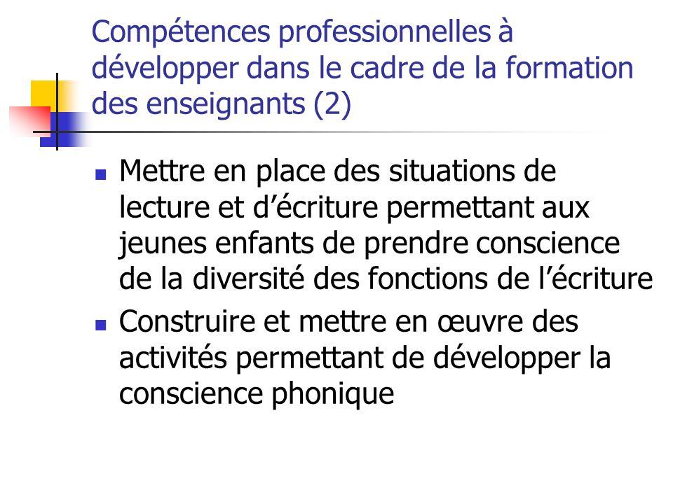 Compétences professionnelles à développer dans le cadre de la formation des enseignants (2)