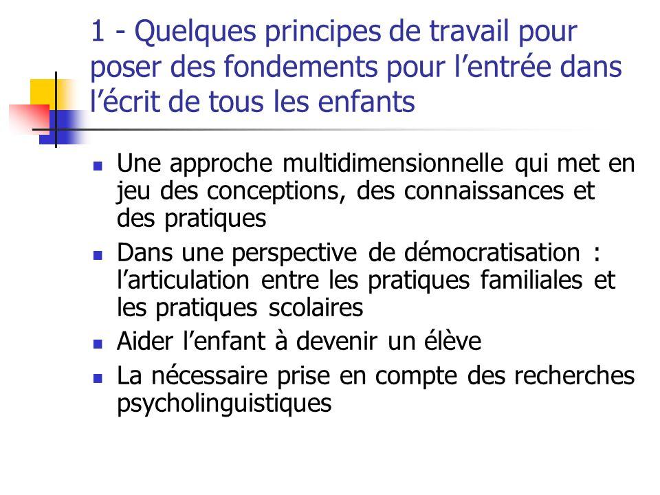 1 - Quelques principes de travail pour poser des fondements pour l'entrée dans l'écrit de tous les enfants