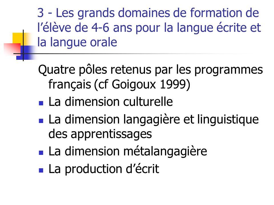 3 - Les grands domaines de formation de l'élève de 4-6 ans pour la langue écrite et la langue orale