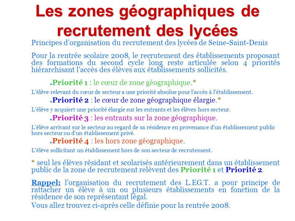Les zones géographiques de recrutement des lycées