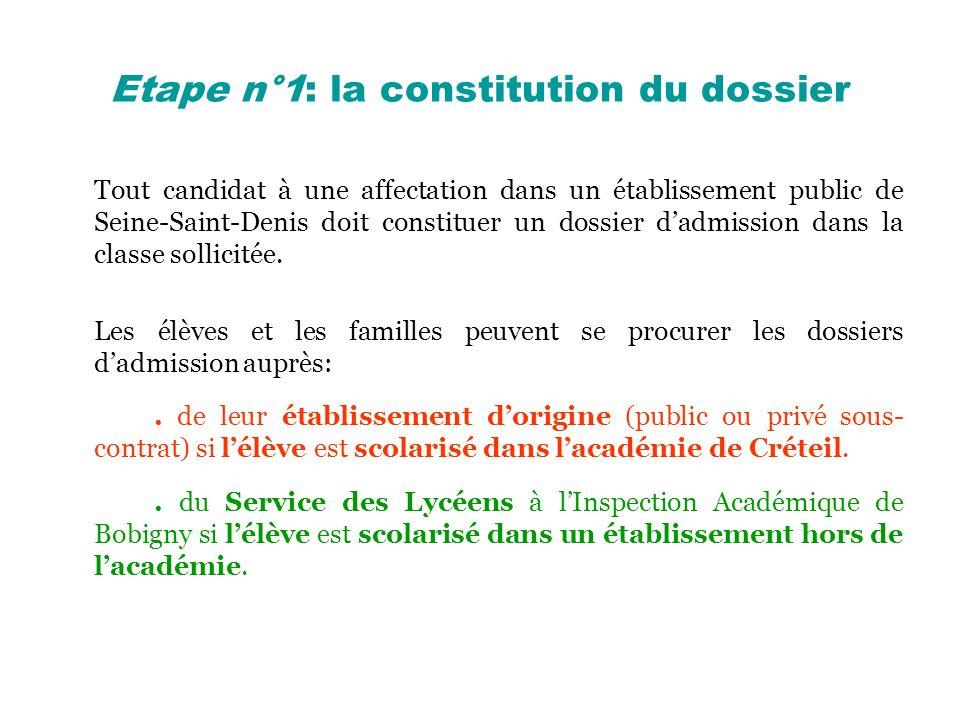 Etape n°1: la constitution du dossier