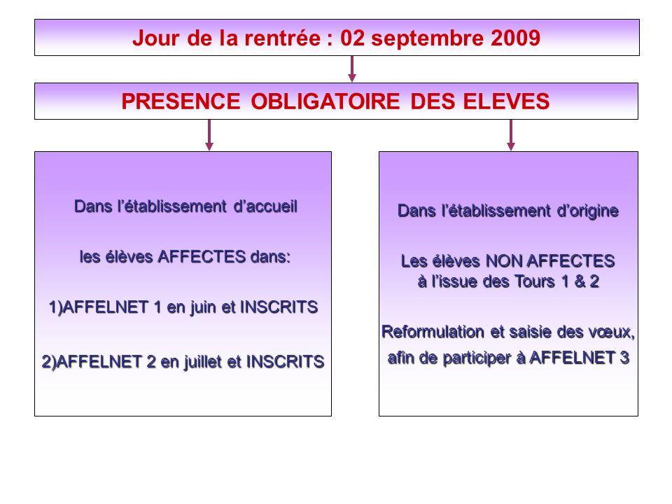Jour de la rentrée : 02 septembre 2009