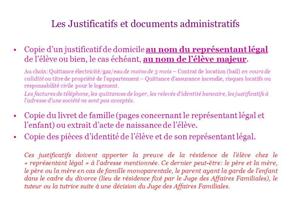 Les Justificatifs et documents administratifs